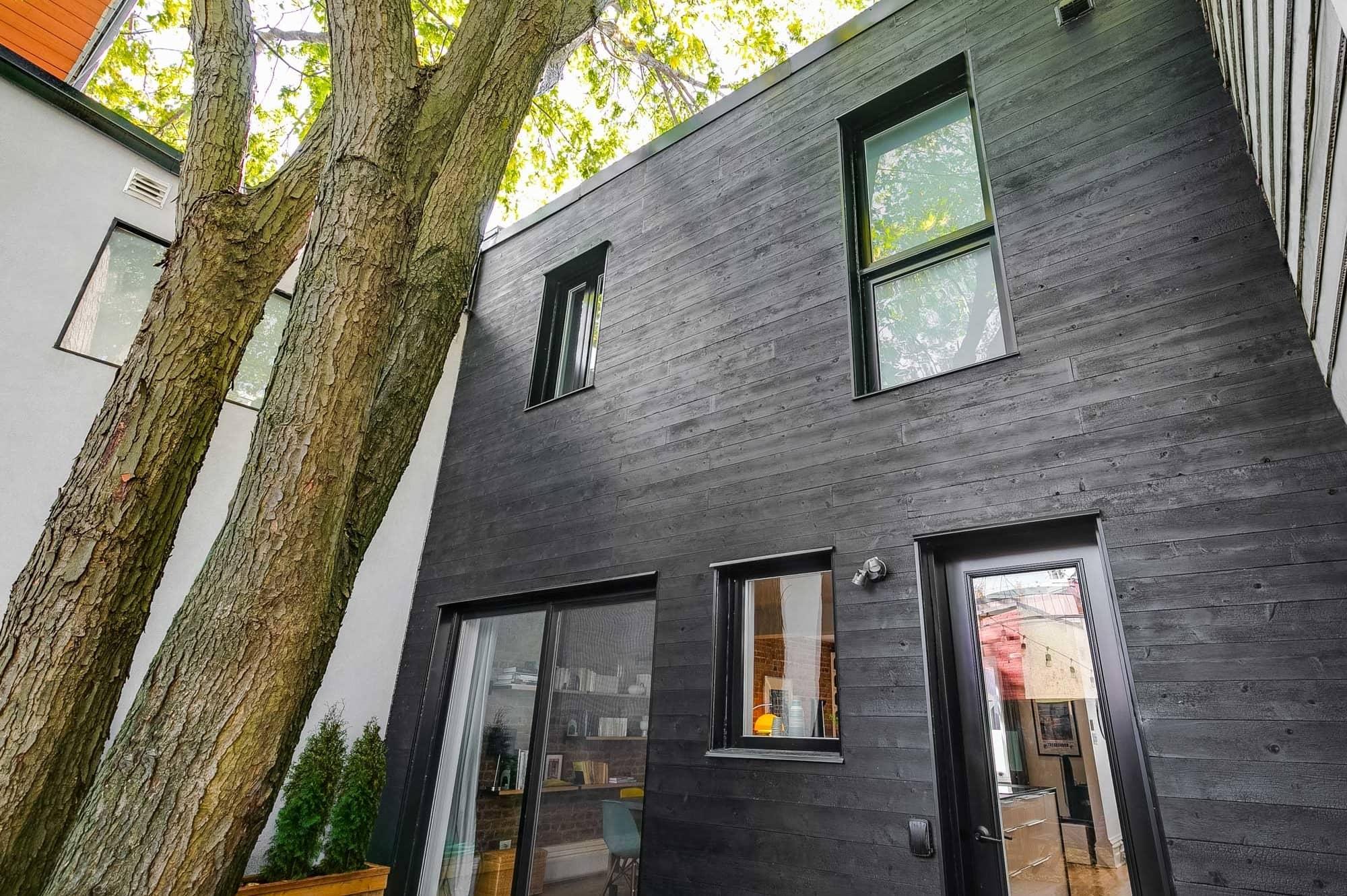 porte et fenêtres + revêtement extérieur en bois noir