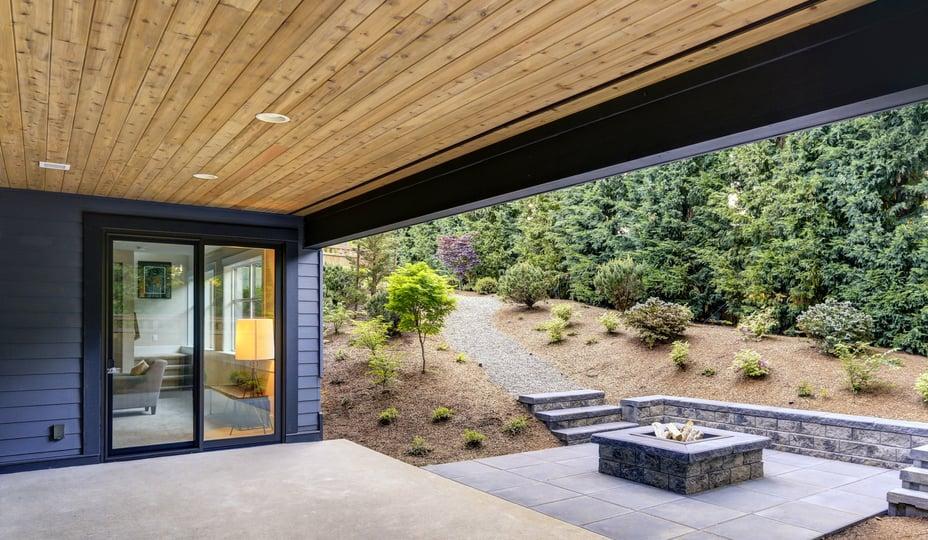 porte patio hybride avec extérieur en aluminium noir