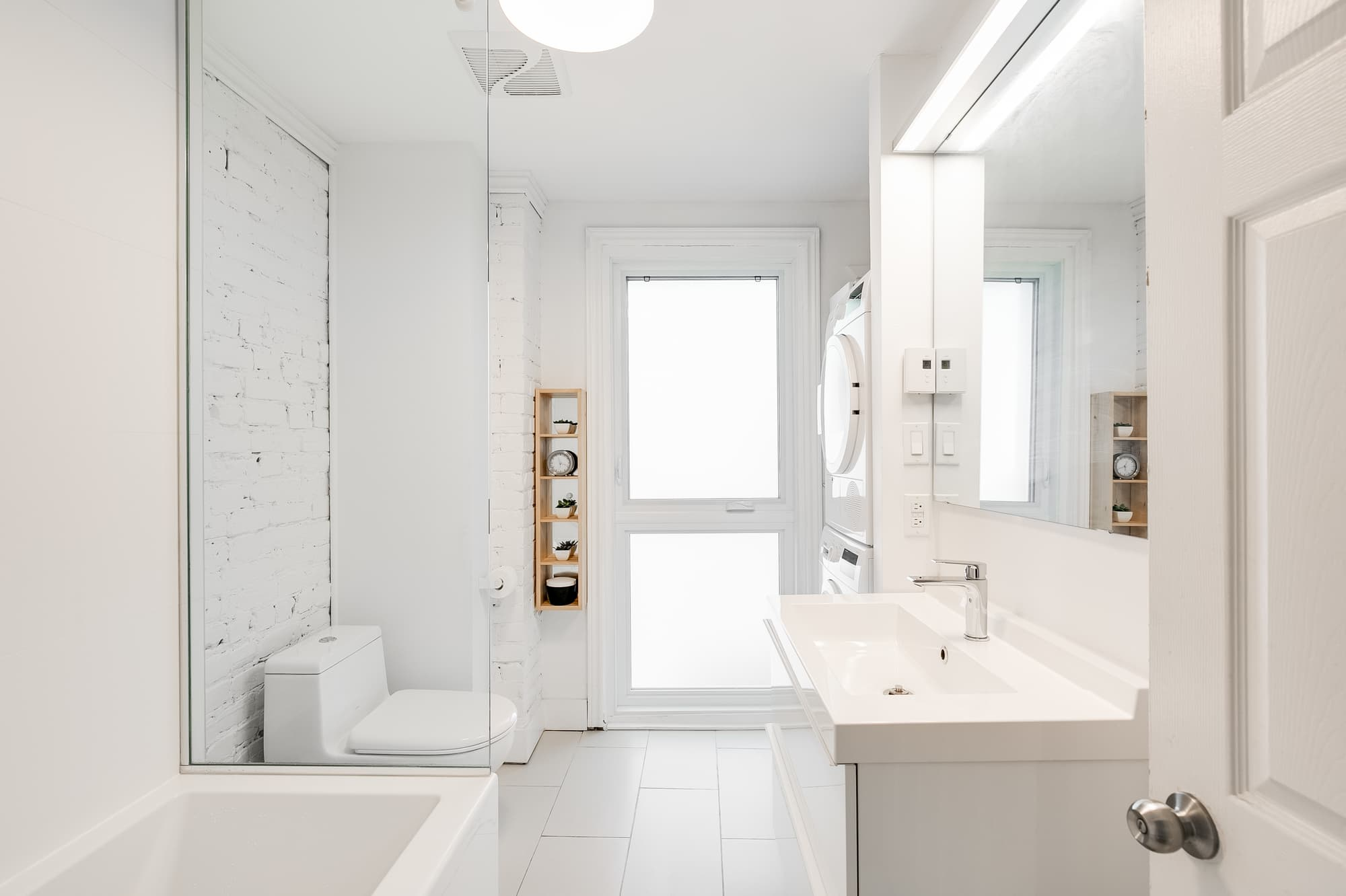 Salle De Bain Brique idée de salle de bain moderne blanche | photos + prix rénovation