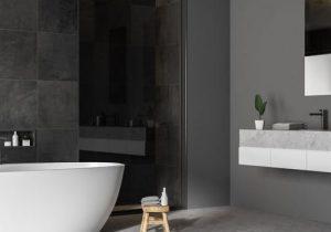 dark contemporary bathroom concrete walls