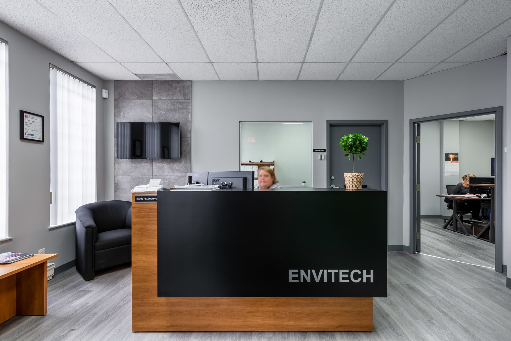 brown and black office reception
