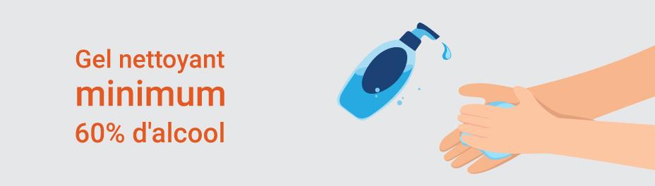 gel nettoyant  en bouteille pour travailleurs de la construction - mesures sanitaires