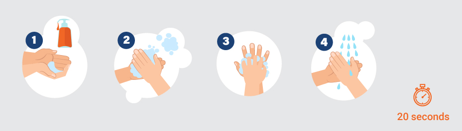 how to wash your hands properly infography - sanitary mesures
