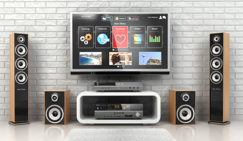 home theater system with television