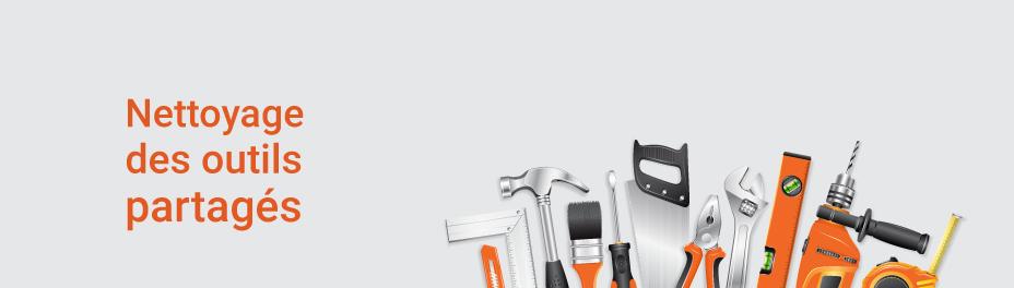 mesures sanitaires chantiers construction - nettoyage des outils