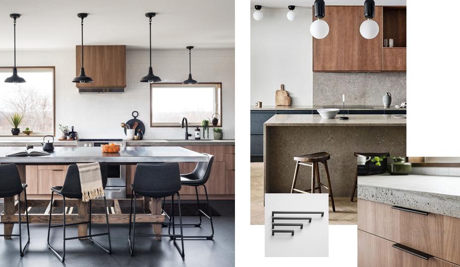armoire de cuisine de style moderne avec bois et béton