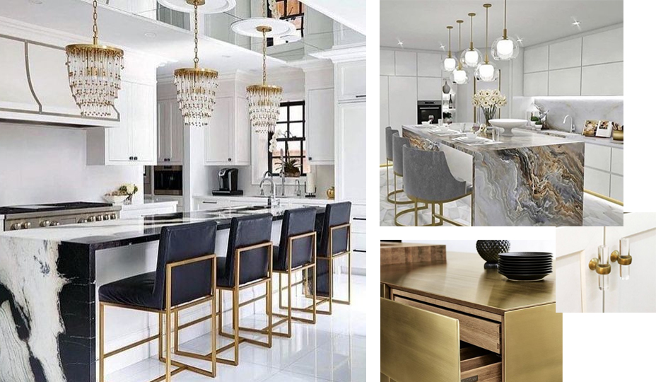 ecclectic chic kitchen with gold accents