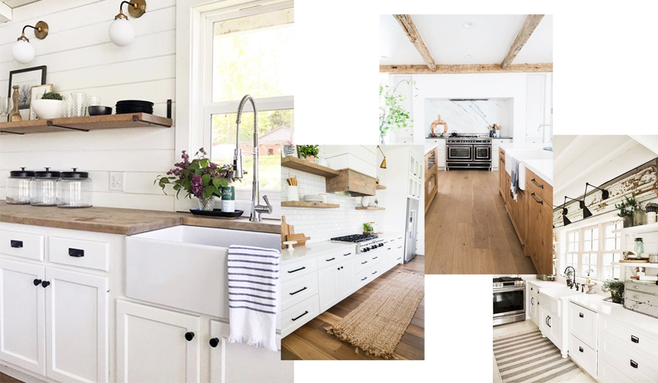 farmhouse kitchen style with wood and white cabinet