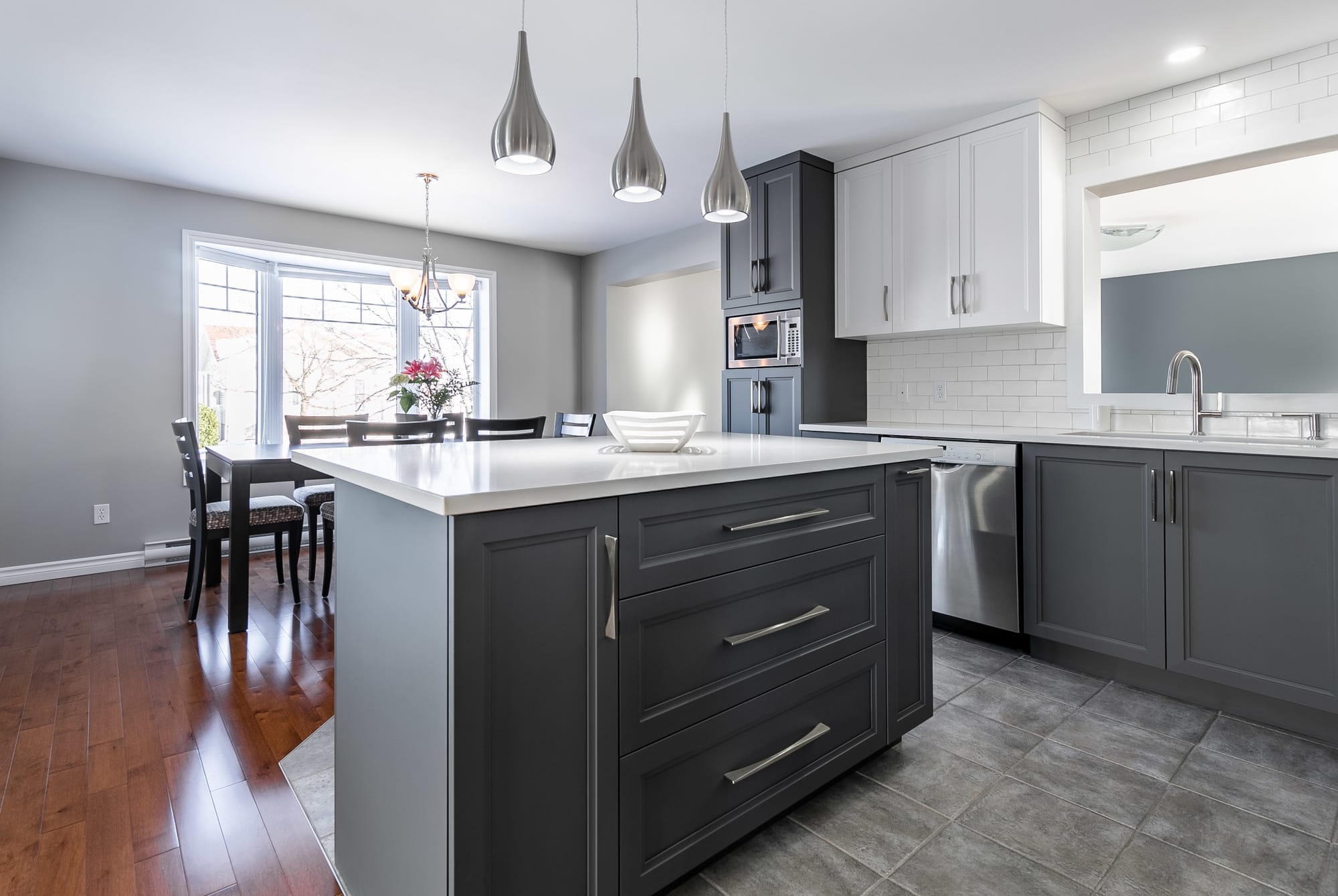 two tone modern kitchen remodel with a big island