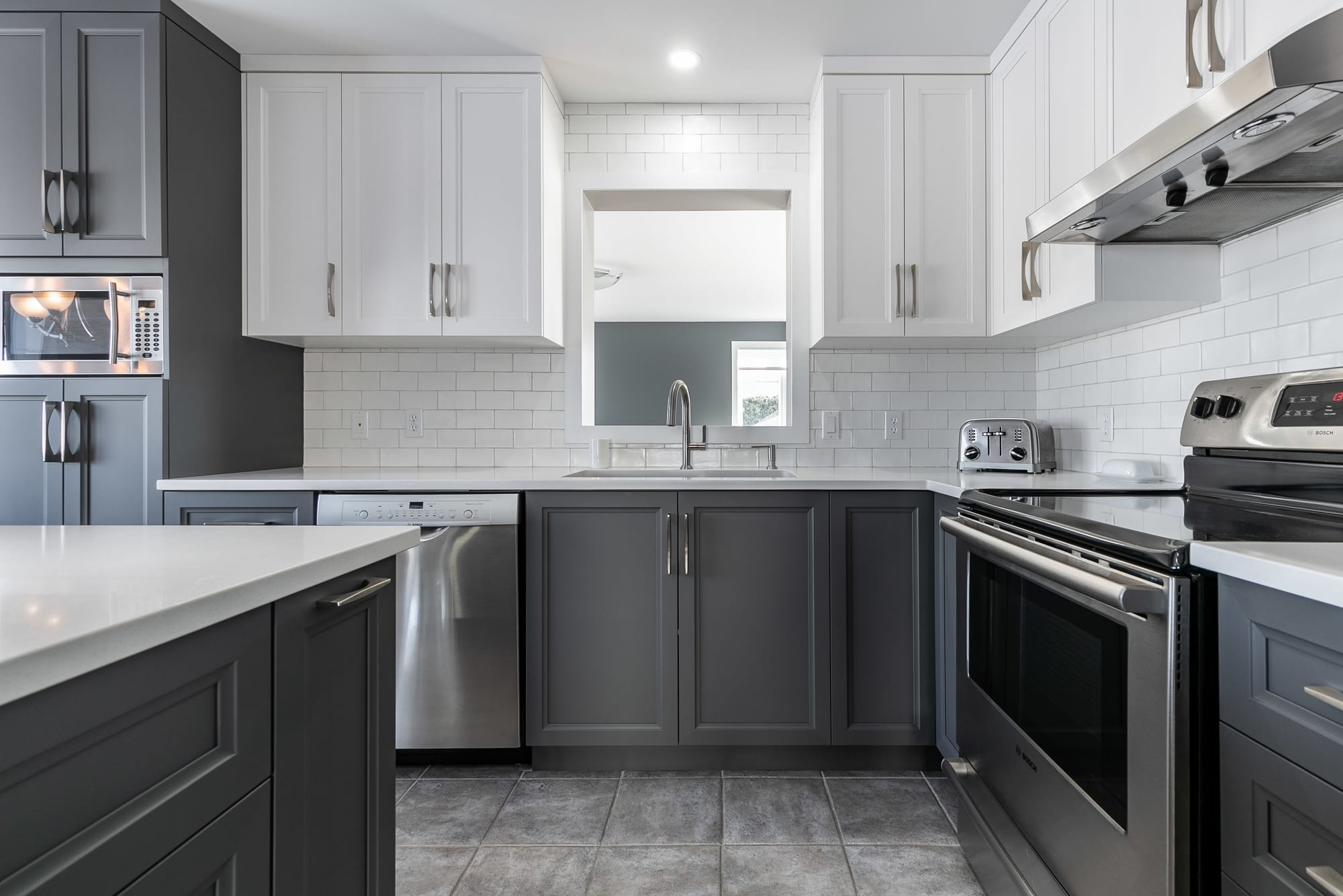 two tone modern kitchen design with island