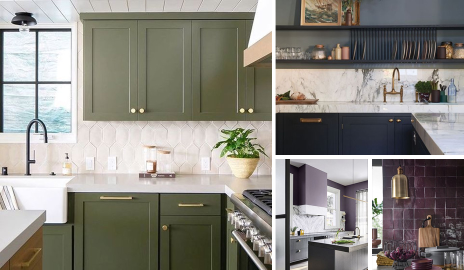 colorful kitchen with moss green cabinets