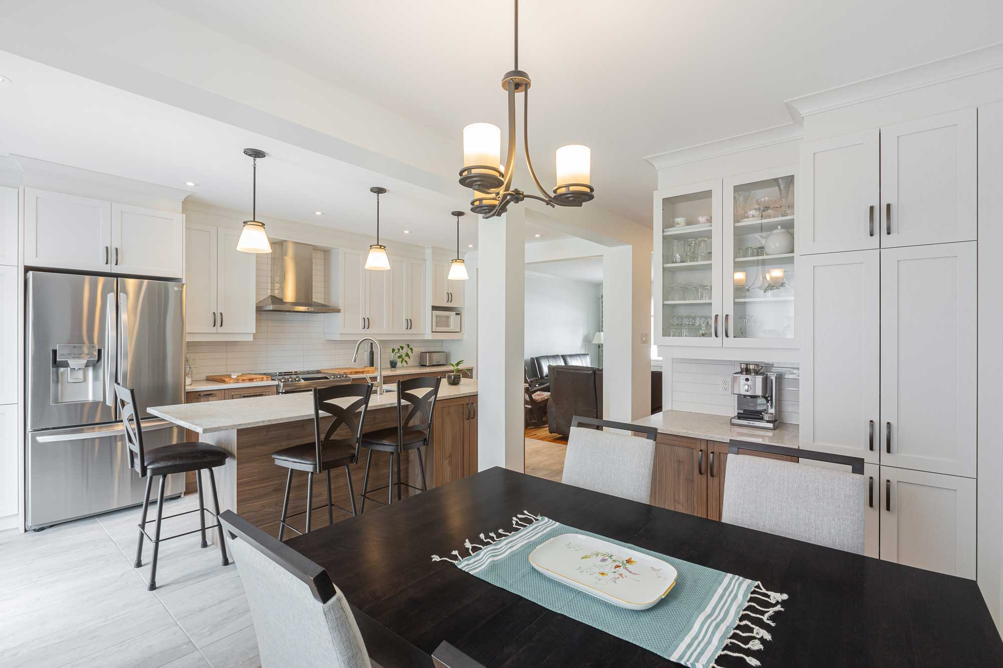 dining table in modern kitchen