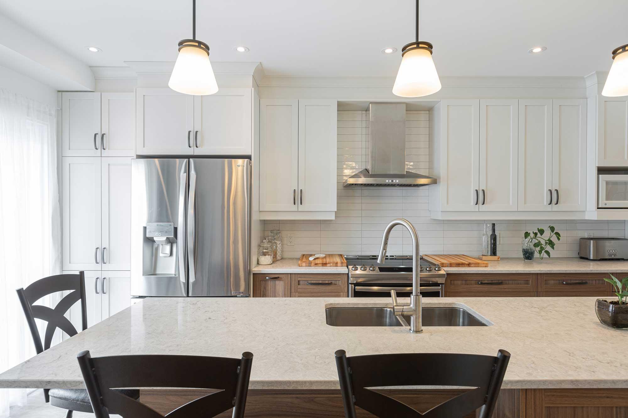 modern kitchen with white upper cabinets