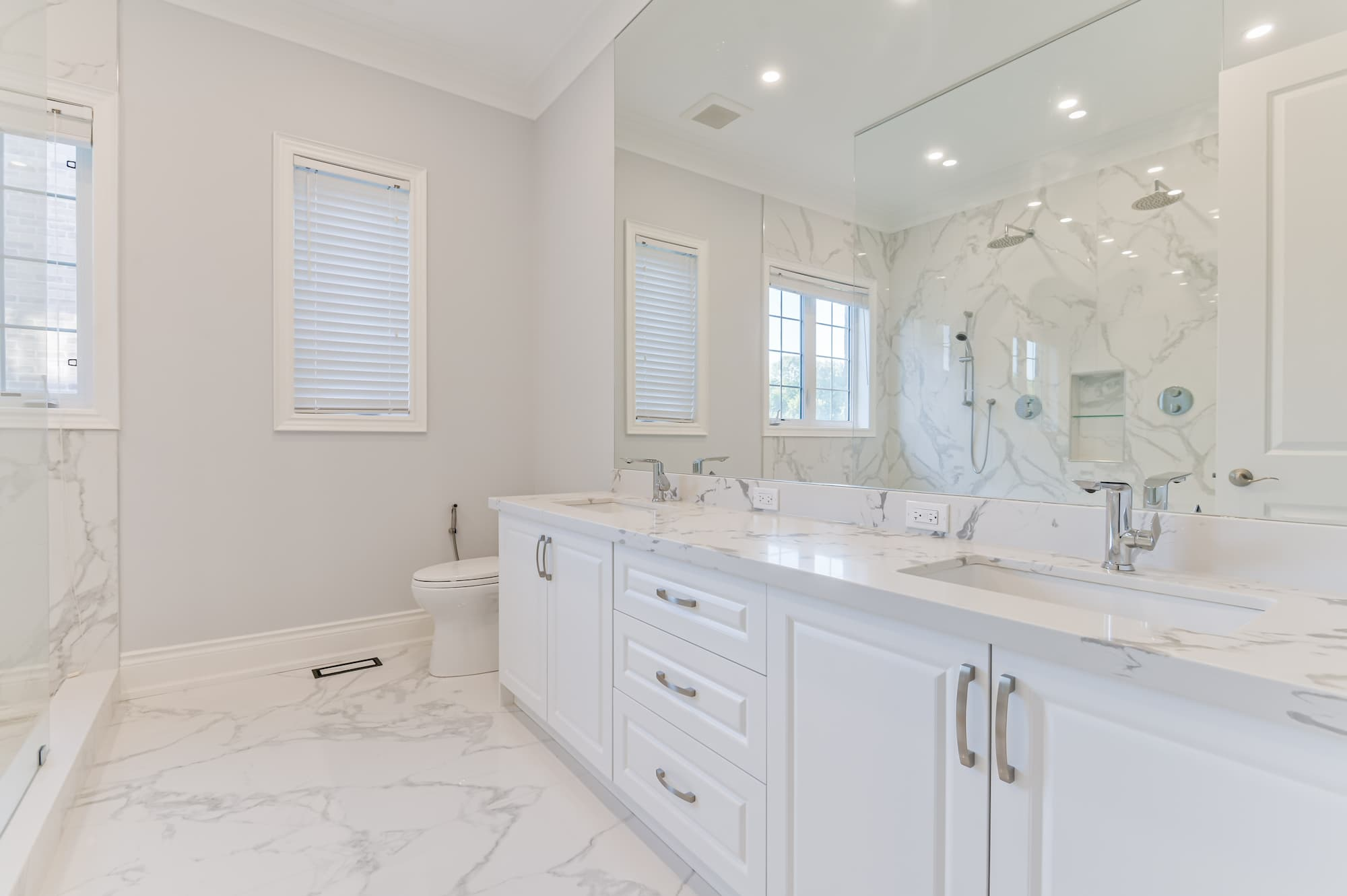 classical renovated bathroom with white vanity