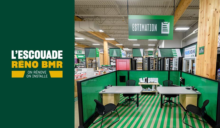 Espace dédié à l'escouade réno BMR dans l'un de leurs magasins - Partenariat RénoAssistance BMR