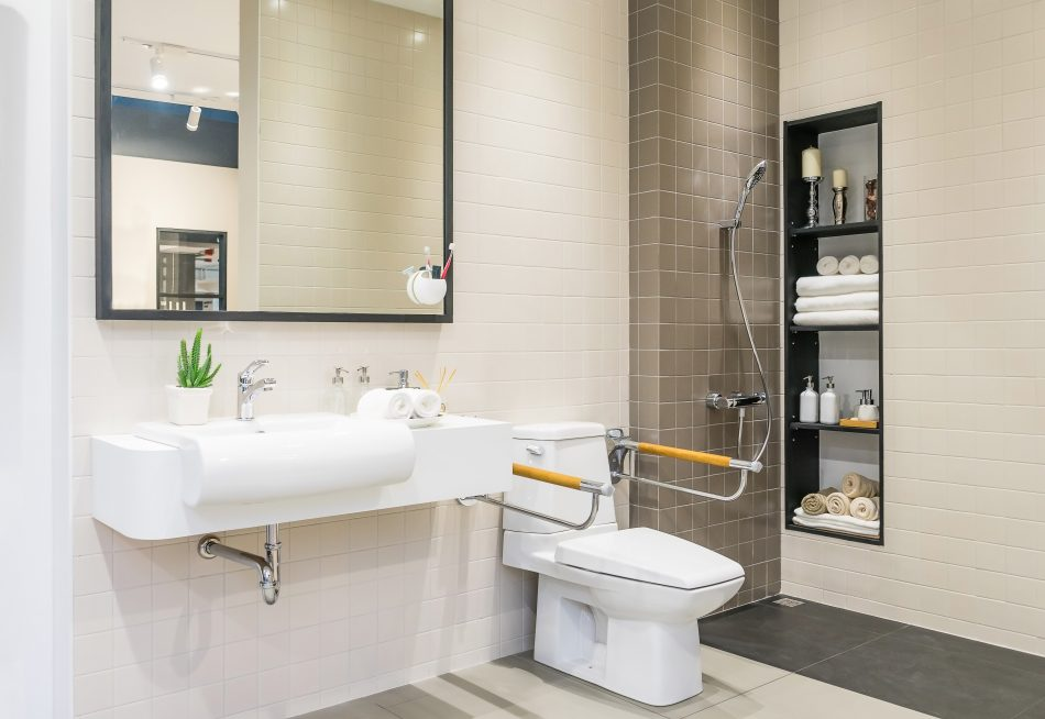 Interior,Of,Bathroom,For,The,Disabled,Or,Elderly,People.,Handrail