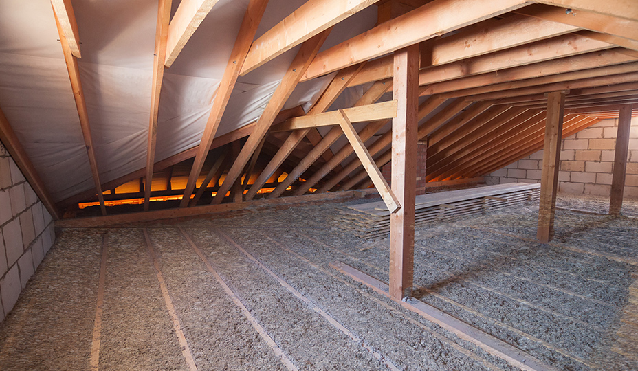 attic with vermiculite on the floor
