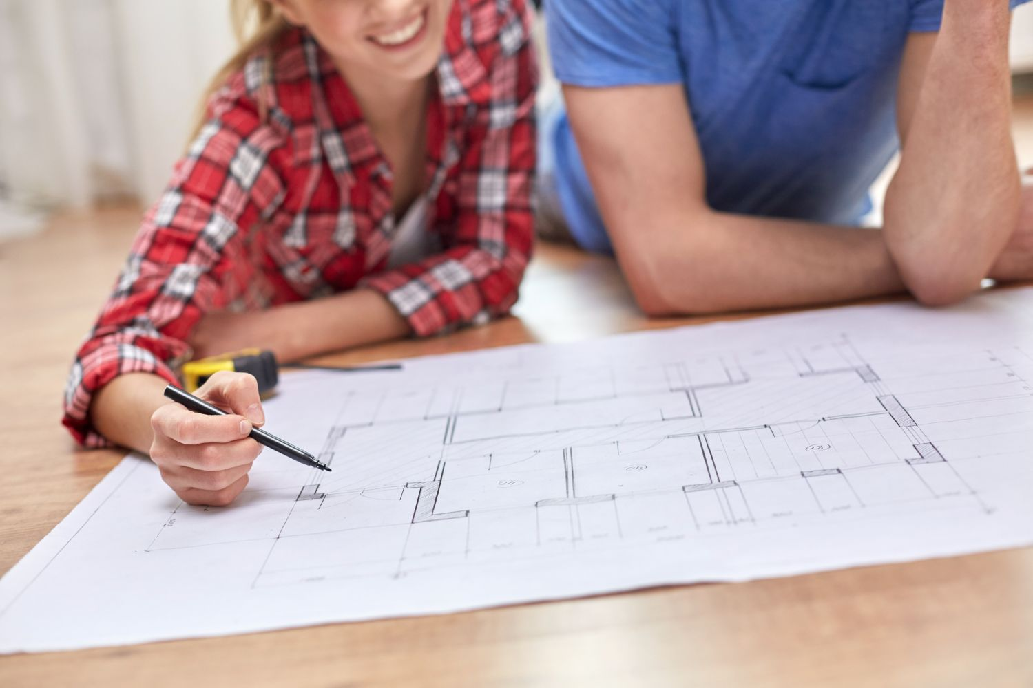 couple looking at a house plan