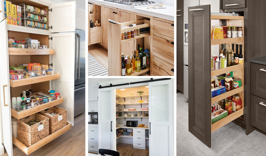 design your kitchen with sliding and walk-in pantries