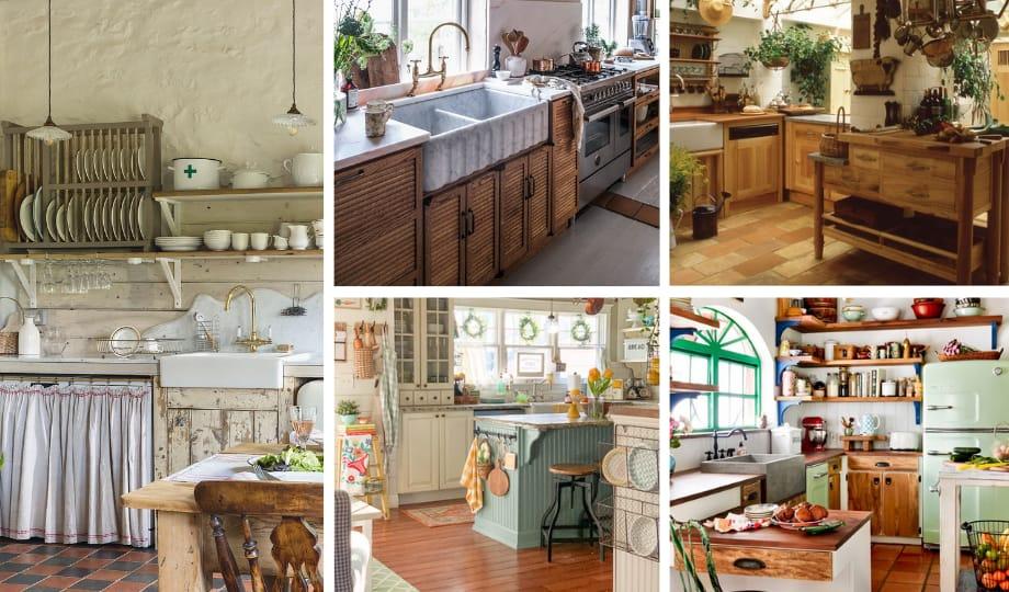 idées armoires de cuisine de style cottagecore