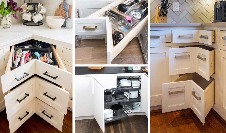 corner drawers for storage space