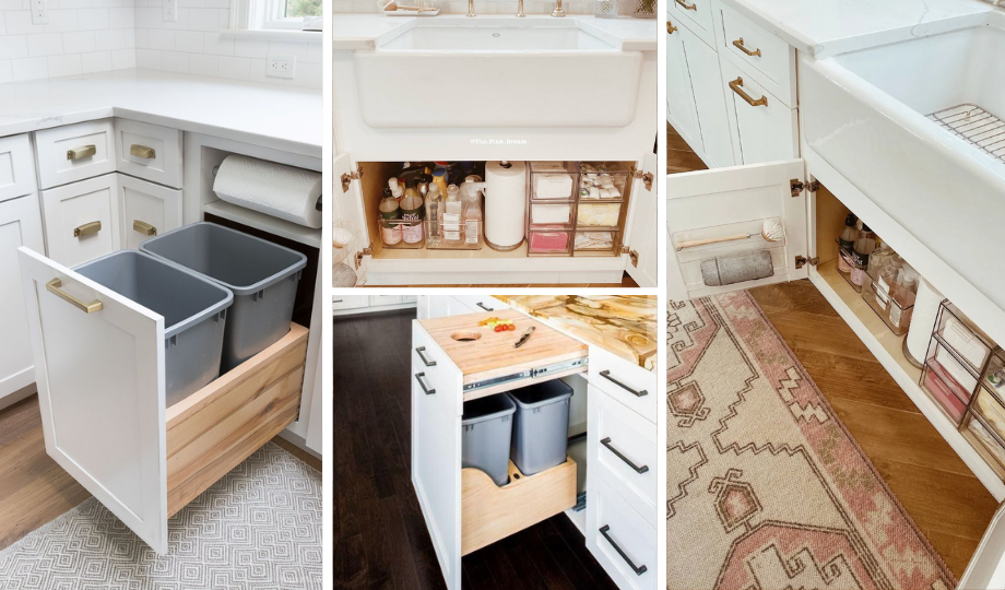 hidden storage space for kitchen cleaning products and waste bins
