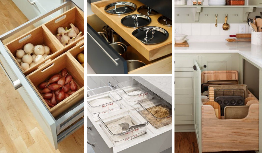 deep drawers with separators to optimize space